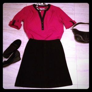 Ann Taylor 6P black wool textured skirt